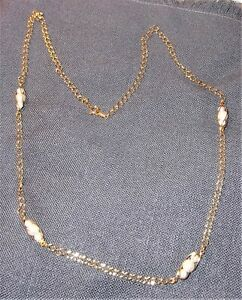 SIGNED VINTAGE AVON GOLDEN CHAIN WITH GOLD WRAPPED PEARLS