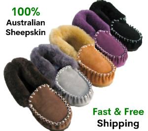 New Genuine Australian Sheepskin Lambskin Moccasins Slippers Ladies Mens Womens