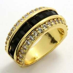 3.50ctw Black & White Sapphire Gold Overlaid Brass Ring, Size 7