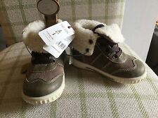 New Mothercare First Walkers Boys Leather Brown Turndown Fleece Boots Size 6 NEW