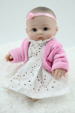 NPK 10 inch Reborn Baby Doll Soft 25CM Silicone Girl Toy Pink Bear Kid's Gift BE