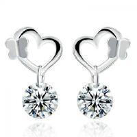 Jewelry Cute Heart Butterfly Crystal Earrings Hook Silver Plated Ear Stud