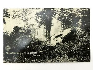 Antique WW1 Rare Postcard - Monster Of Steel in Action France - Historical