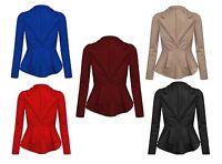 Womens Ladies Crop Frill Shift Slim Fit Fitted Peplum Blazer Jacket Coat UK 8-24