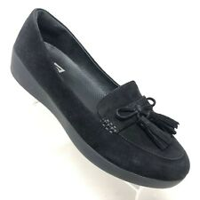 FitFlop Sneakerloafer Black Suede Tassel Bow Slip-on Loafer Shoe Womens Size 10