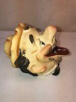 Vtg Mid-Century Japan Laughing DRUNK BUM  Smoker Head Incense Burner Ashtray