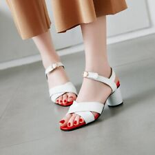 Womens Casual Slingback Sandals Patent Leather Block Mid Heels Peep Toe Shoes