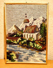 Stickbild,Landschaft,Handarbeit,im Bilderrahmen mit Aufhängung.-20 x 28 cm