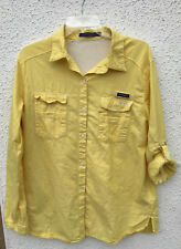 Womens Columbia Pfg Long Sleeve Yellow Shirt Size L Super Bonehead Style Vented