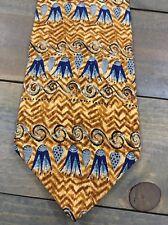 The Metropolitan Museum Of Art Brown Blue Floral Short Wide Silk Mens Neck Tie