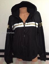 Victoria's Secret Pink Sherpa Lined Anorak Black White Gold Zip Up Jacket - XS/S