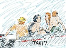 s BOAT RIDE Male Female Figure Ocean Sea Original Pastel Pencil Art Drawing