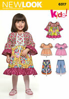 NEW LOOK Sewing Pattern~6317 Girls Childs Children Dress+Top+Pants 1/2-1-2-3-4
