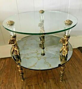 Antique Vtg Ornate Cherub Putti Baroque Figural Bronze Glass Mirrored End Table