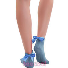 Calcetines mujer medias lurex tobillo medias lazo satén papillon nuevo BE-1129