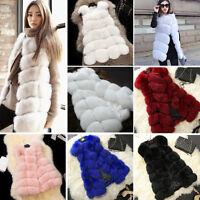 Women Warm Gilet Outwear Long Slim Vest Faux Fox Fur Waist coat Jacket Clearance