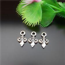 51624 Antique Silver Mini Fleur-De-Lis Alloy Charms Pendants Jewelry Craft 48pcs