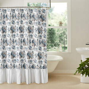 Ruffled Shower Curtain Annie Blue Rose Floral Cotton Country Farmhouse