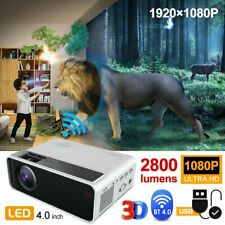 1080P 4K 3D Smart Home Theater 3000:1 LED Projector Bluetooth WiFi Android 6.0