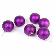 6 Pc Luxury 8cm Christmas Tree Baubles Decoration Set - Purple Peacock