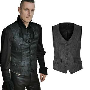 PUNK RAVE Schwarze Viktorianische Gothic Herrenweste Black Victorian Mens Vest