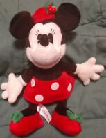 """Disney Parks Minnie Mouse Christmas holiday retro hat holly 10"""" plush"""