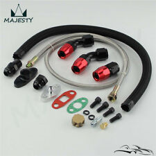 Turbo Oil Feed Line + Return Line + AN10 Fitting + Flange Kit T3 T4 GT35 T70 T66