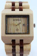 Bewell reloj de madera fecha Sándalo Arce regalo genial pulsera hombre mujer
