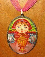 ORIGINALE Russo dipinto a mano Samovar Matryoshka Bambola GERMAN SILVER Ciondolo Regalo