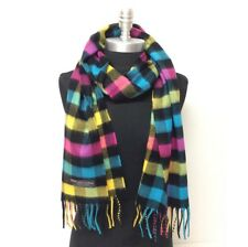 New 100% CASHMERE SCARF Scotland SOFT Square Check Plaid Black/Yellow/blue/pink