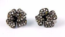 Flower Shape Diamond Cluster Black Fashion Stud Earrings 14K White Gold 5.42Ct