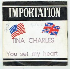 Tina CHARLES Vinyle 45T rpm YOU SET MY HEART ON FIRE -COLUMBIA IMPORTATION RARE