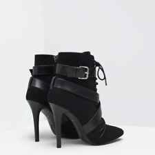 ***ZARA Black Lace Up High Heel Ankle Boot BNWT EU 37 38 / 4 5 UK