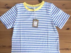 "£19.95 💠 JOULES 💠 Selma Light Blue White Stripe T - Shirt Top Sz 8 UK / 34"""