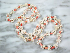 VTG NATURAL PINK ANGEL SKIN & RARE MORTLOCK ATOLL CORAL BEADED LEI NECKLACE 33""