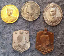 THAILAND , 5 medals ,1 bronze,+ 3 copper-Nickel King Rama V - 1 gold plated
