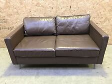 2 / 3 Seater Small Sofa Brown Leather Modern Design