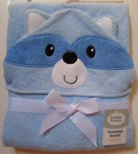 Boys Luvable Friends Blue Raccoon 100% Cotton Terry Hooded Towel NWT