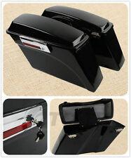 Hard Saddlebags Saddle bags W/ Lid Latch Key For Harley Touring Models 94-13 NEW