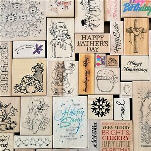 Christmas Easter Wedding Holidays Birthday Wooden Rubber Craft Stamps You Pick