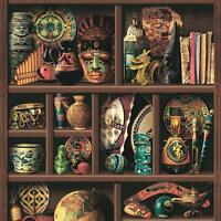 Muriva Wood Book Shelf Pattern Wallpaper Inca Aztec Tribal Motif Vinyl L14408
