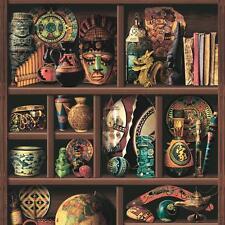 Muriva Bois Livre Étagère Motif Papier Peint Inca Tribal Aztèque Vinyle L14408