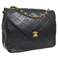 Auth CHANEL Quilted CC Double Chain Shoulder Bag Black Leather AK26022d