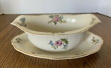 Syracuse Portland Federal Shape China Gravy Boat Attached Underplate Floral