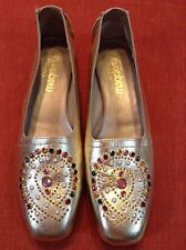 VTG NEW Magdesians Metallic Gold Beaded Leather Moccasins loafers shoes flats 6