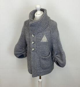 G Star Raw Battle Cardigan Grey Knit Wool Alpaca Sz Large Ladies
