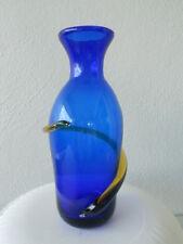 """BLENKO 8"""" Cobalt Blue Vase with Topaz Yellow Spiral - Year 2000 Vintage"""
