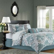 7pc Aqua Blue & Grey Damask Comforter Set AND Decorative Pillows - ALL SIZES