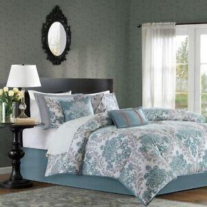 7pc Aqua Blue & Grey Damask Comforter Set AND Decorative Pillows - ALL SIZES