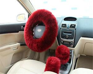 3x Long Plush Warm Winter Steering Wheel Cover Woolen Handbrake Car Accessory